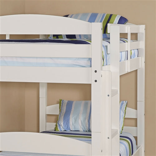 Close up White Wood Twin Bunk Bed