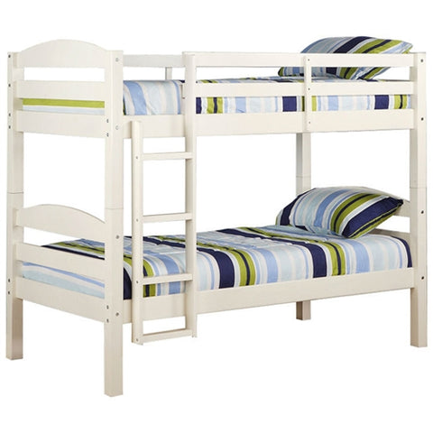 White Wood Twin Bunk Bed - Converts to 2 Twin Beds