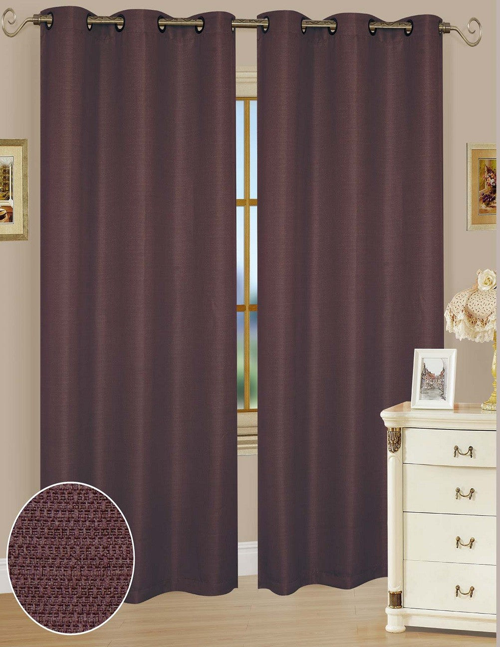 Ashley Chocolate Polyester Window Curtains