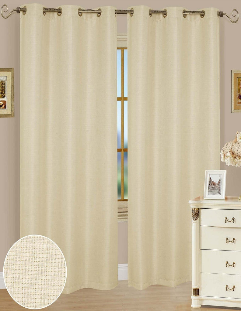 Ashley Beige Polyester Window Curtains
