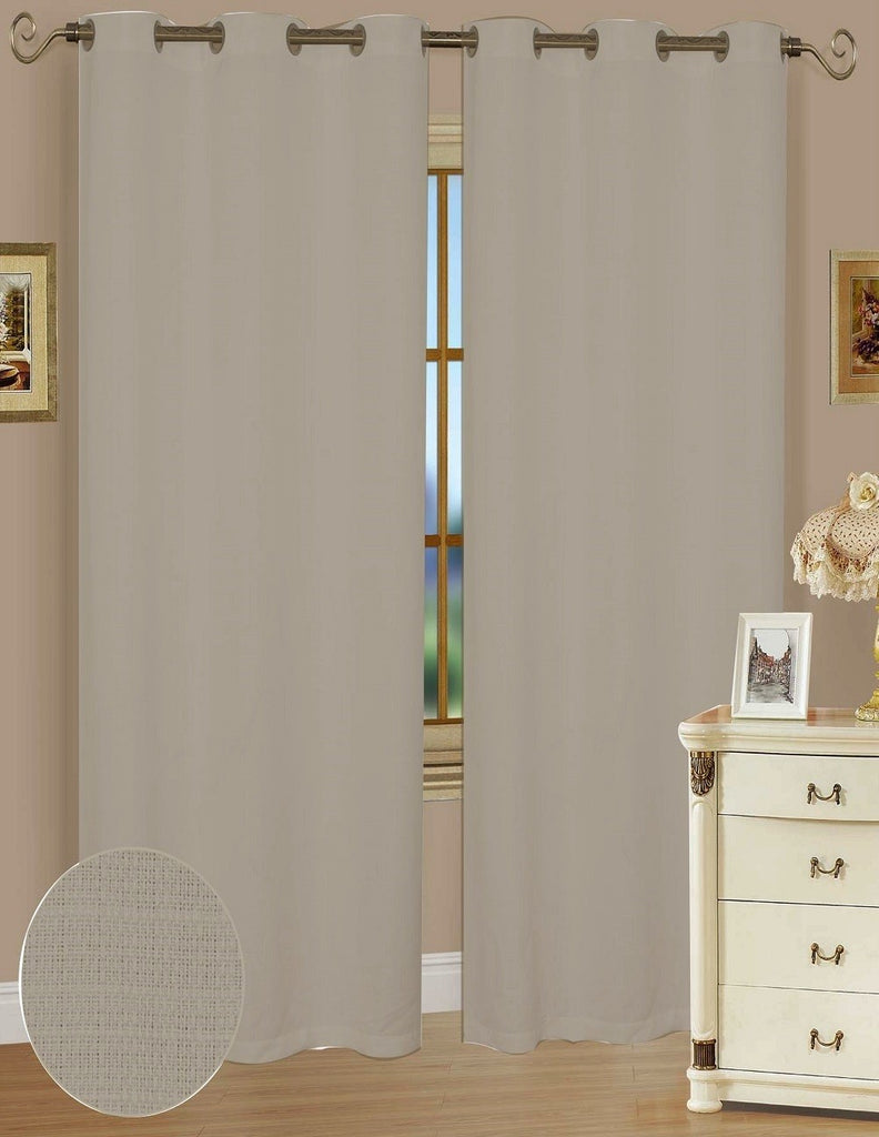 Ashley Taupe Polyester Window Curtains