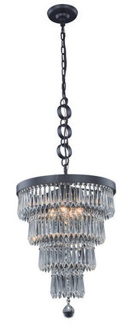 "Crystal chandelier. This Bastille Collection Pendant/Flush Mount 4 Light 15 inch Mocha  Brown Finish Royal Cut Clear Ceiling light is a Simply luxurious way to light any room in your personl castle! This light is a ""big"" 18 inches high and 15 inches in diameter and will look spectacular in your home!"