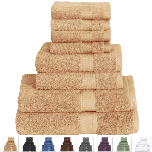 Beige 8-Piece Luxurious Cotton Bath Towel Hand Towels and Washcloths Set