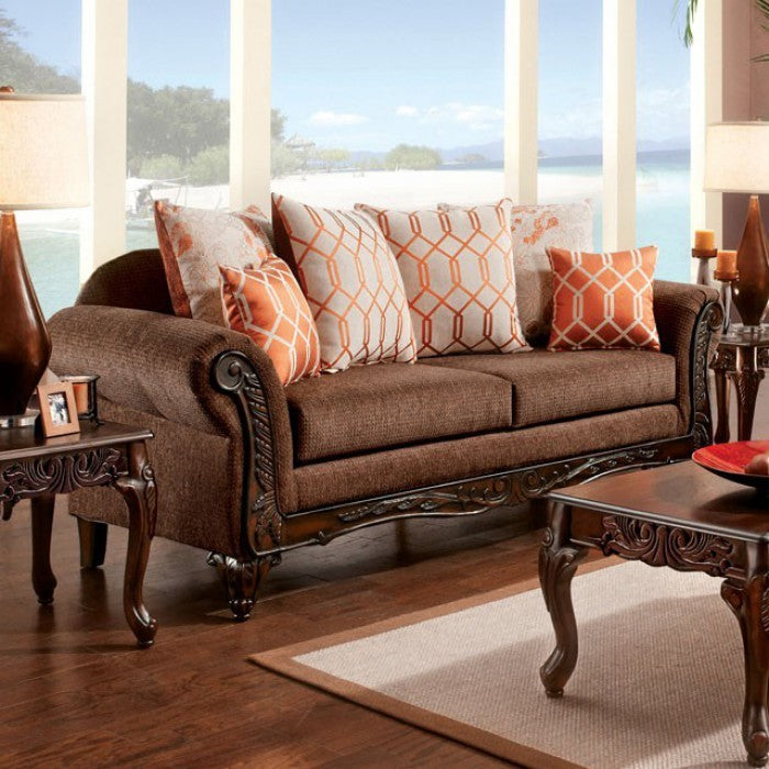 Bechet Cushy Deluxe Sofa Transitional Style, Brown