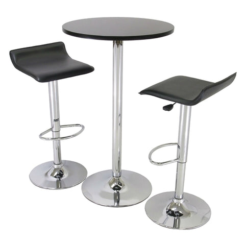 Chrome and Black dining set. This 3 Piece Modern Dining Set with Bistro Table and Two Stools would Simply be a great addition to your home. It has a functional yet stylish design and an iron base.