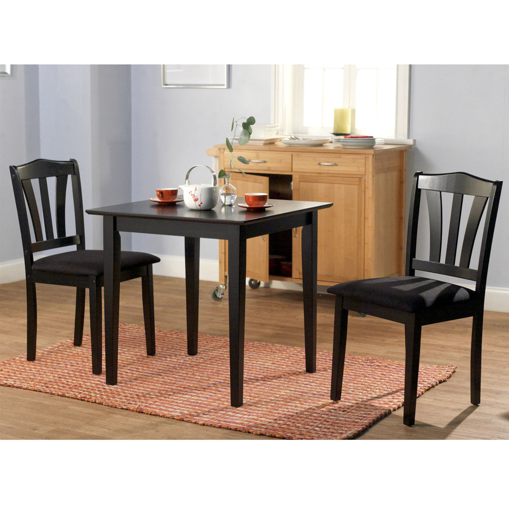 This 3-Piece Wood Dining Set with Square Table and 2 Chairs in Black would be a great addition to your home. It is constructed of rubber wood and manufactured wood. Set includes dining table and two chairs.