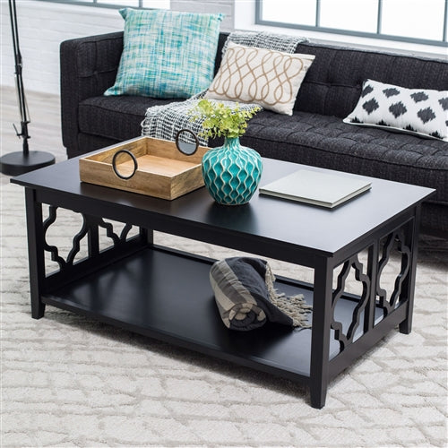 Black Quatrefoil Coffee Table With Solid Birch Wood Frame ...