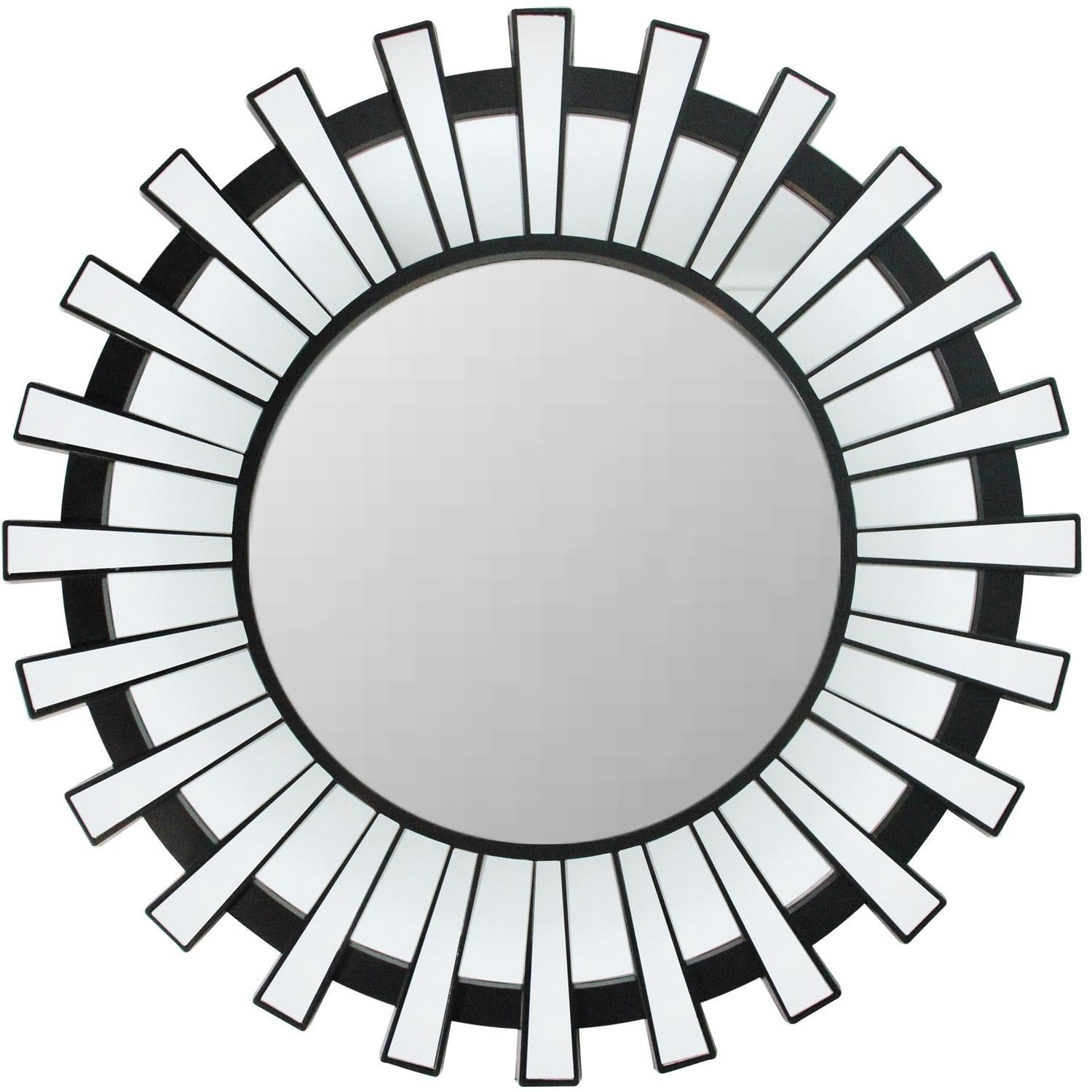 Photo of mirror without background setting. This beautifully crafted mirror will add a touch of modern elegance to any room in your home Features a round black frame with mini mirrored columns inspired by a shimmering sunburst ! Can be hung vertically or horizontally Includes hanging hardware.