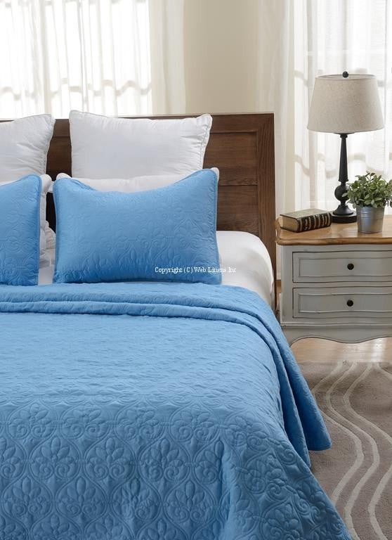 OVERSIZED-3PC QUILTED COVERLET SET- BLUE