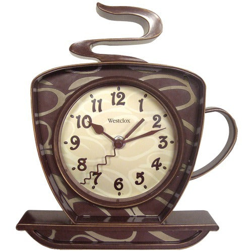 brown and tan coffee cup and saucer with steam coming out of the top with a clock in the middle.