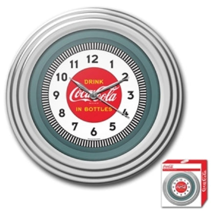 Bring the unique style of the world's most recognizable brand home with this 30s Style Chrome Coca-Cola Wall Clock. This retro clock features a 1930's style Coca-Cola design and the high gloss chrome molded case adds a brilliant shine!