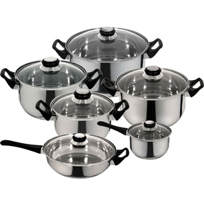 12-Piece Fast Heating Premium Stainless Steel Cookware Set