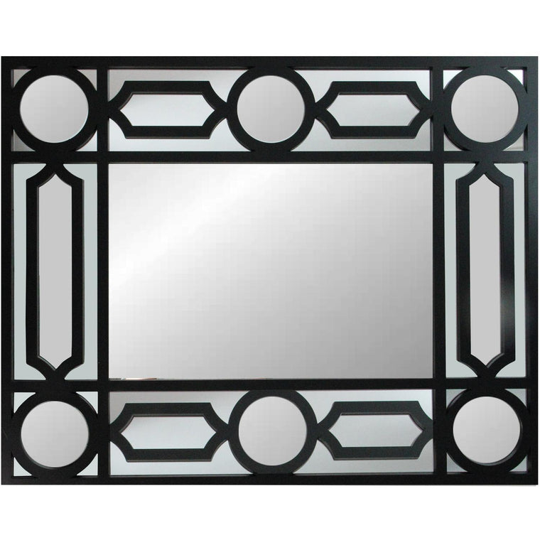This beautifully crafted mirror will add a touch of modern elegance to any room in your home Features a rectangular black frame with with a geometric openwork border! Can be hung vertically or horizontally Includes hanging hardware. Mirror corner detail.