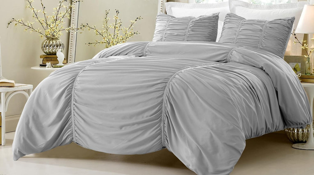 3 Piece GRAY RUCHED DESIGN DUVET COVER SET STYLE ~Queen Size