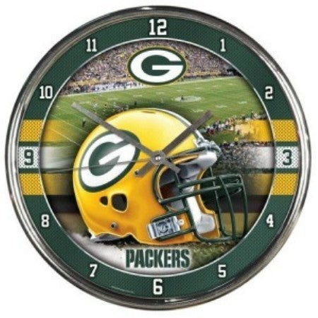 green and yellow green bay packers helmet in the center wall clock.