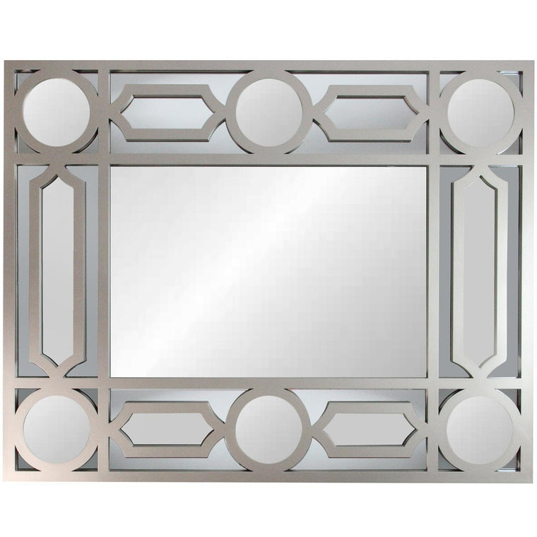 Photo of the mirror corner detai. This beautifully crafted mirror will add a touch of modern elegance to any room in your home Features a rectangular gray frame with with a geometric openwork border! Can be hung vertically or horizontally Includes hanging hardware.