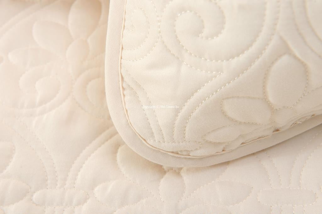 OVERSIZED-3PC QUILTED COVERLET SET- IVORY