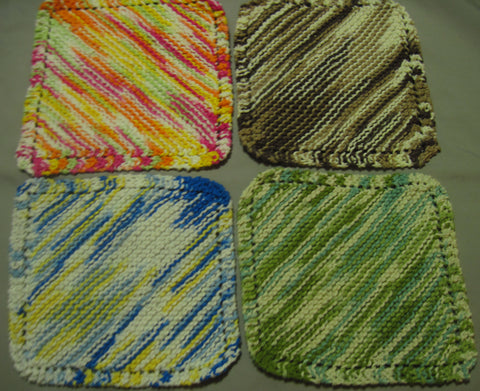 Hand Knitted Multicolored Kitchen Wash Cloths