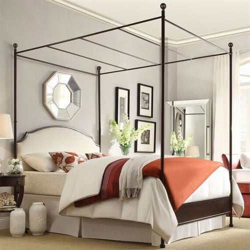 Metal Canopy Bed with White Cream Linen Upholstered Headboard