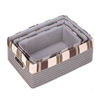 A nested set of three gray baskets with alternating brown and tan block pattern top border.