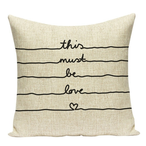 Linen/Cotton Inspirational Pillow Covers