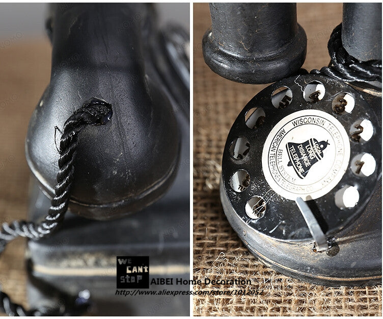 Old style phone dimension details. Add a touch of classic American culture to your home decor with this vintage looking rotary dial telephone with separate earpiece.  Made to look like an original old-style telephone, this decorative piece features details to inspire your home decor.