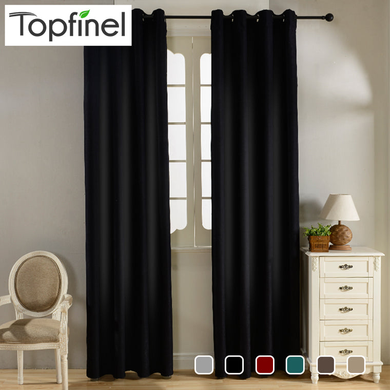 Solid Velvet Blackout Curtains for Living Room Bedroom
