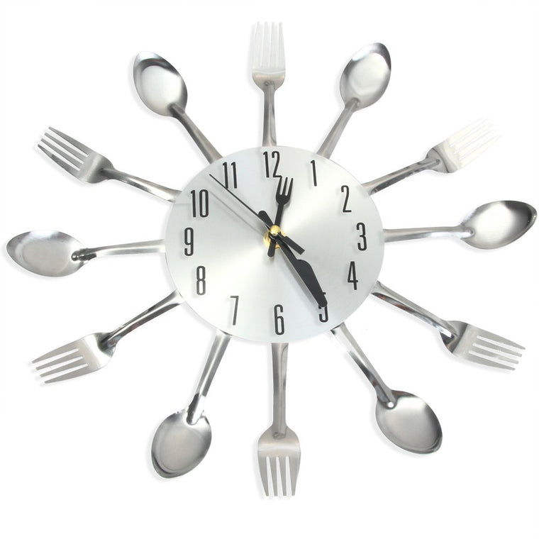 Modern Cutlery Kitchen Wall Clock, Spoon & Fork, Silver, Black or Multi-color