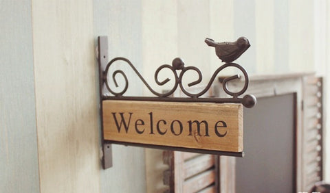 Rural Style Wrought Iron Metal & Wood Bird Mini Welcome Sign