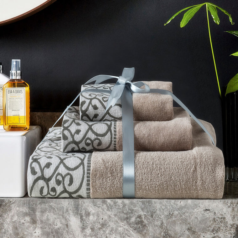3 Piece Chocolate Gray Bath Towel Set with Decorative Vine Edging