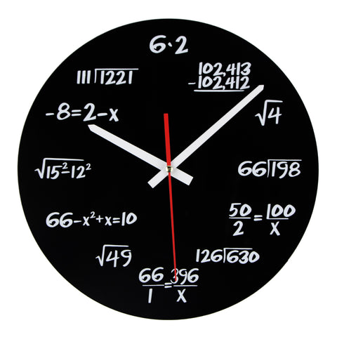 Black clock face with white writing and hands.  Each number is represented by a mathematical equation.