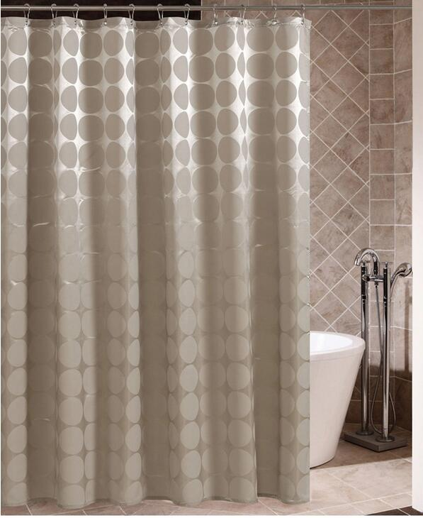 Circles Bathroom Shower Curtain Polyester Fabric Waterproof Moldproof