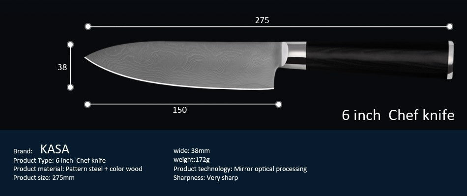 This 12 Piece Damascus pattern Professional Kitchen Knife set is the high end choice and is composed of chef prefferred knives utilized by professional chef's. Made from  VG 10 Damascus stainless steel using the Damascus technique this cutlery set would make a Simply awesome gift for the chef in your home! These knives are very sharp and have lasting sharpness, so care should be used when handling them.knife detail.