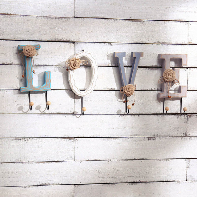 LOVE HOME Letters Metal Hook Wooden Wall Hanger