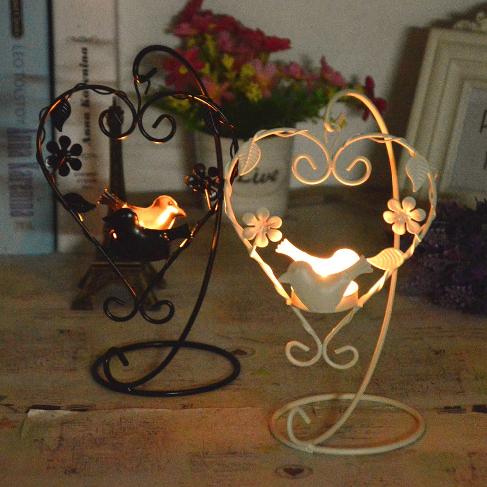 Heart Shaped Bird and Flower Iron Candle Holder