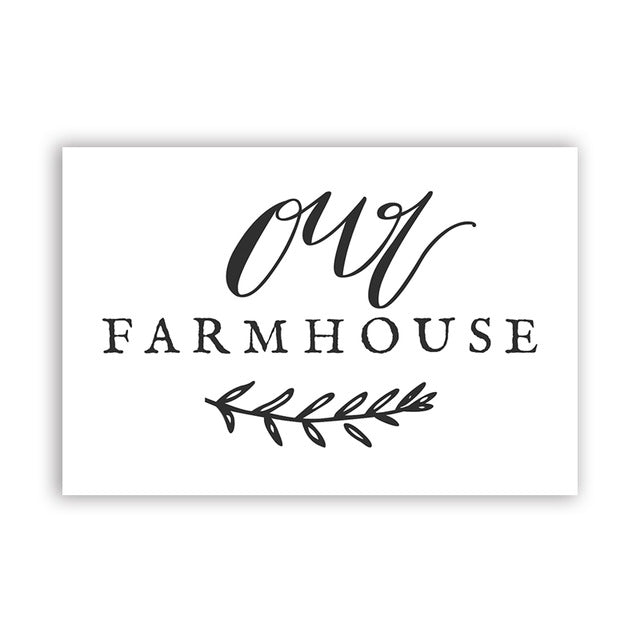 Home Sweet Farm or Our Farmhouse Calligraphy Canvas Art Print, Country Farm Kitchen Decor