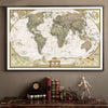 Framed world map on the wall. This Classic Reproduction of an Antique World Map brings History to life in a Poster bringing a Continental Flare to any room in your home! This Poster is manufactured using Kraft Paper and is suitable for Framing and will become a Simply awesome Home Decoration!( Frame Not included).