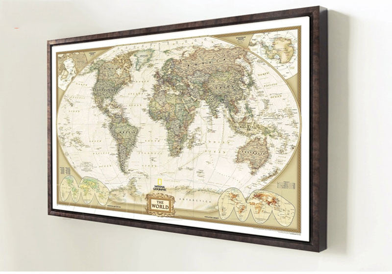 Framed world map hanging on a wall end view. This Classic Reproduction of an Antique World Map brings History to life in a Poster bringing a Continental Flare to any room in your home! This Poster is manufactured using Kraft Paper and is suitable for Framing and will become a Simply awesome Home Decoration!( Frame Not included).