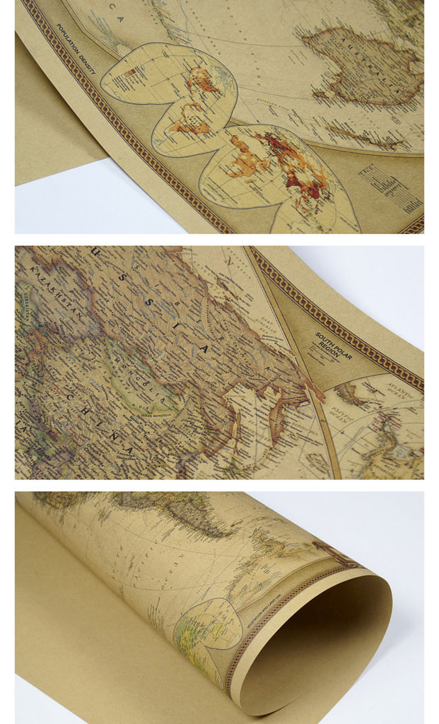 Map detail and rolled for shipping. This Classic Reproduction of an Antique World Map brings History to life in a Poster bringing a Continental Flare to any room in your home! This Poster is manufactured using Kraft Paper and is suitable for Framing and will become a Simply awesome Home Decoration!( Frame Not included).