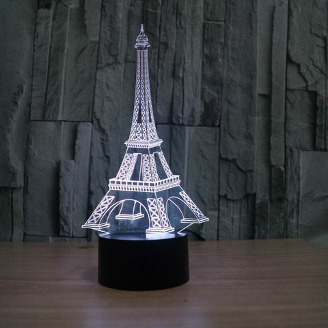 Colorful Eiffel Tower 3D table lamp creative 3D illusion night in 7 color gradients!