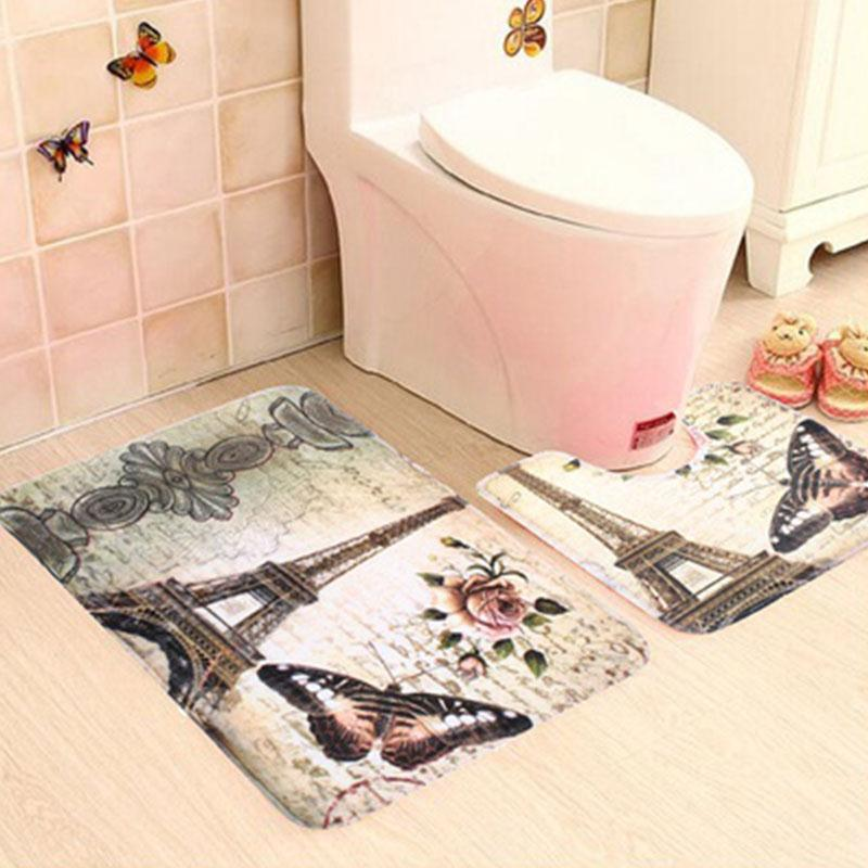 Bathroom floormat set with Eiffel Tower and Butterfly and Flower design. Colorful photo of the bathroom rug set. This 2 PCS  Eiffel Tower Bathroom Floor Mat set is a Simply perfect way brighten your bathroom with a bit of Paris flare!