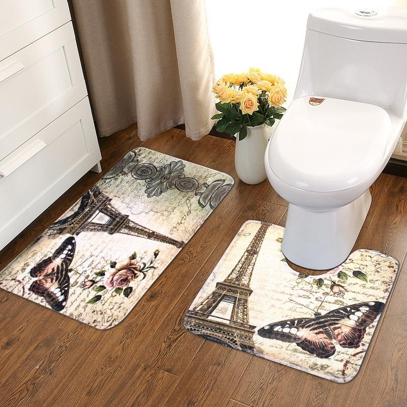 This 2 PCS  Eiffel Tower Bathroom Floor Mat set is a Simply perfect way brighten your bathroom with a bit of Paris flare!  The photo of the rugs in an actual setting.