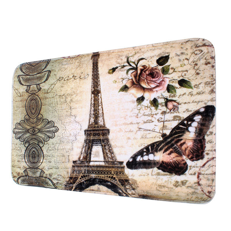 This 2 PCS  Eiffel Tower Bathroom Floor Mat set is a Simply perfect way brighten your bathroom with a bit of Paris flare! Photo of the bath mat.