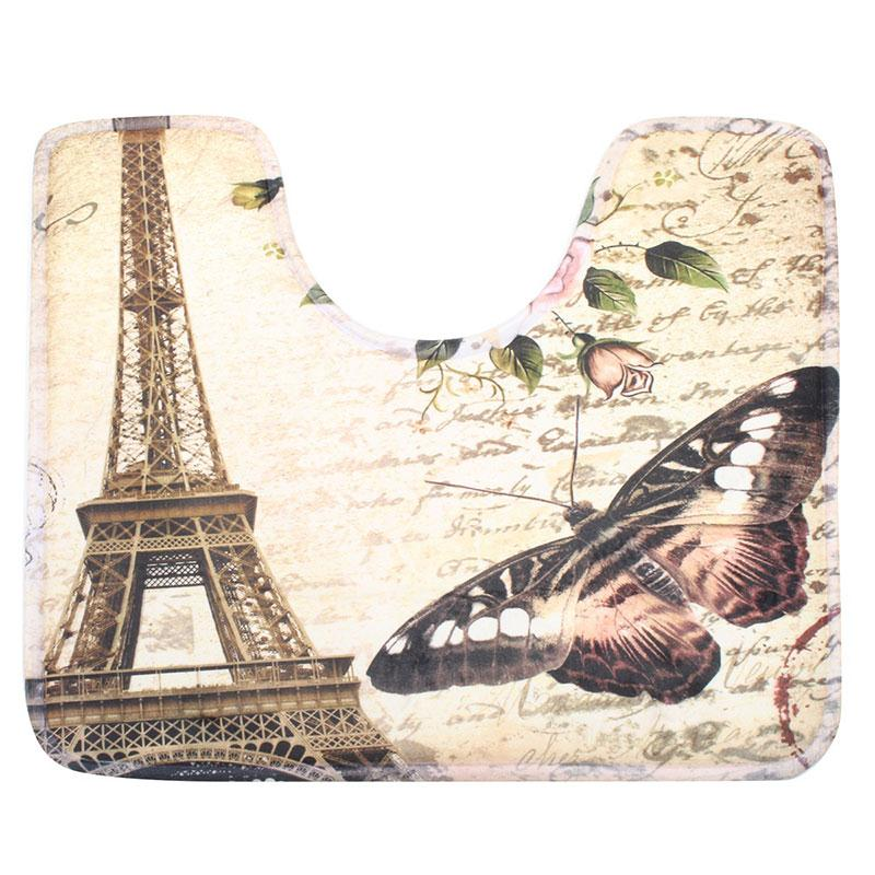 This 2 PCS  Eiffel Tower Bathroom Floor Mat set is a Simply perfect way brighten your bathroom with a bit of Paris flare!  Photo of the toile mat.