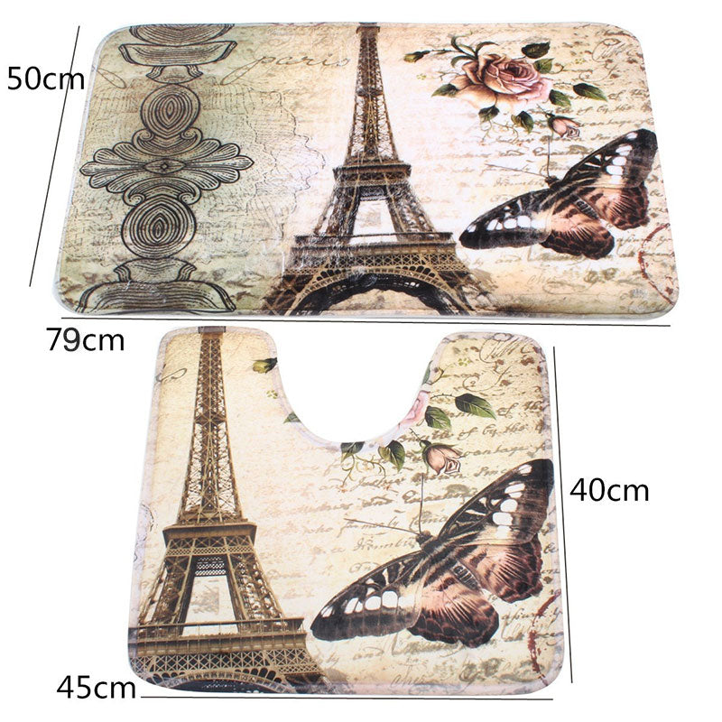 This 2 PCS  Eiffel Tower Bathroom Floor Mat set is a Simply perfect way brighten your bathroom with a bit of Paris flare! photo of the two rugs with size descriptions.