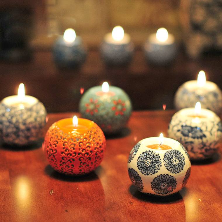 European Style Ceramic Round Ball Candle Holders