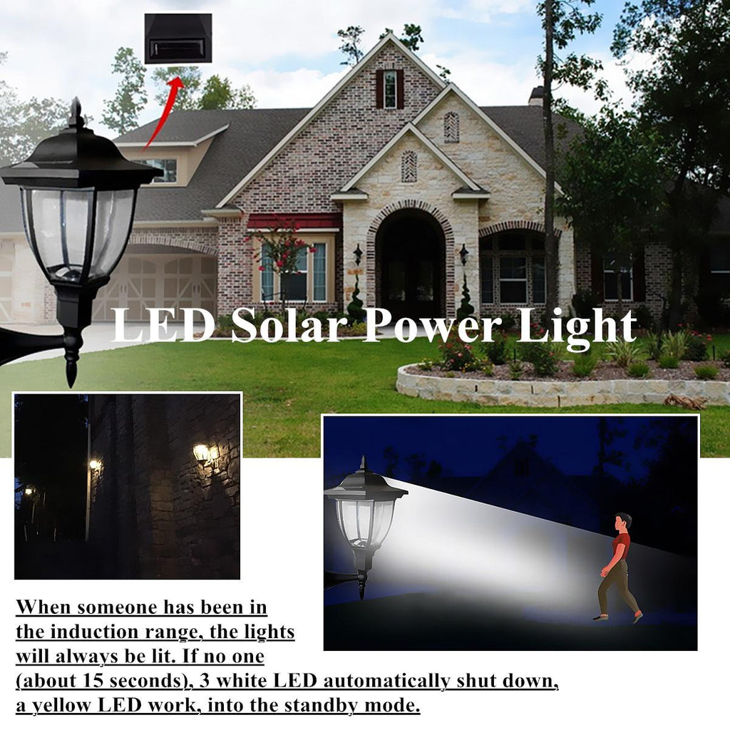 Vintage Style LED Infrared Body Motion Sensor Solar Powered Entryway Coach Light