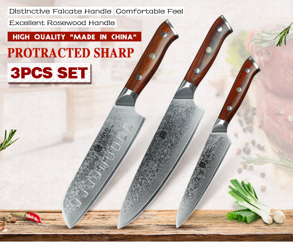 XINZUO 3 pc Professional Quality Damacus Steel Kitchen Knife Set