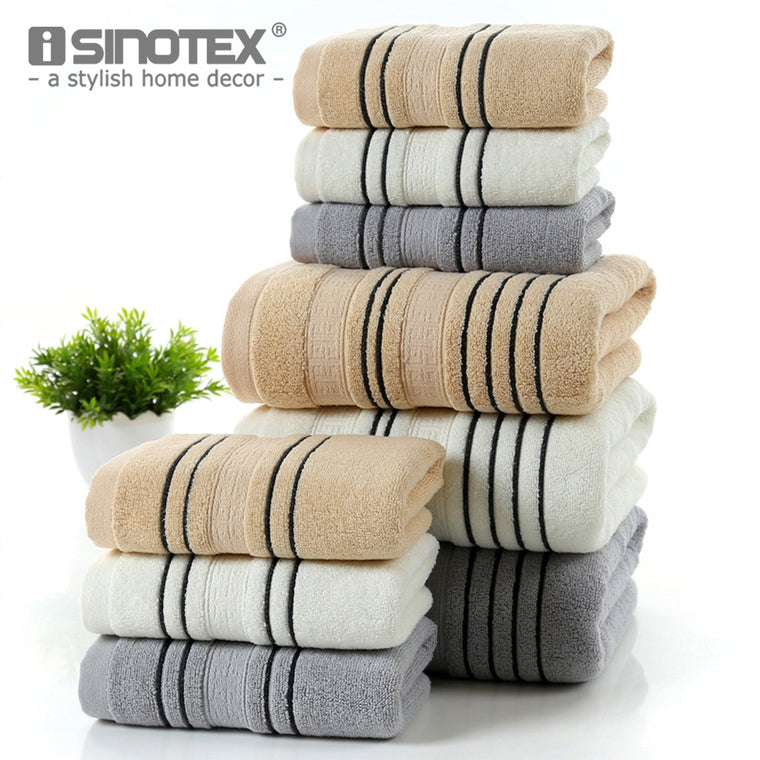 3-Piece Striped 100% Cotton Bath and Hand Towel Set