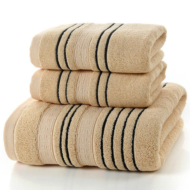 "Towel set in actual setting. This 3 piece striped 100% cotton bath towel set provides softness and functionality where you need it most in your bathroom.  Soft and absorbent, these towels are available in 3 colors to enhance the look of your bathroom.  Each 3 piece set includes the following:  1 Bath towel: approximate dimensions 27.56"" x 55.12"" 2 Hand towels: approximate dimensions 13.39"" x 29.13"""